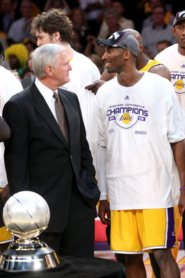 LOS ANGELES, CA - MAY 29:  Los Angeles Lakers legend Jerry West and Kobe Bryant #24 of the Los Angeles Lakers smiles after defeating the San Antonio Spurs in Game Five of the Western Conference Finals during the 2008 NBA Playoffs on May 29, 2008 at Staple