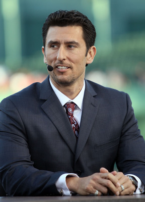 BOSTON - APRIL 04:  Former Boston Red Sox shortstop Nomar Garciaparra participates in the pregame show before the home opener against the New York Yankees on April 4, 2010 during Opening Night at Fenway Park in Boston, Massachusetts.  (Photo by Elsa/Getty