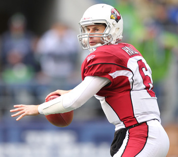SEATTLE - OCTOBER 24:  Quarterback Max Hall #6 of the Arizona Cardinals looks downfield against the Seattle Seahawks at Qwest Field on October 24, 2010 in Seattle, Washington. (Photo by Otto Greule Jr/Getty Images)