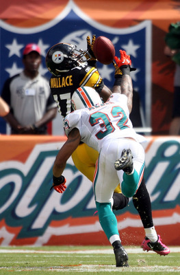 MIAMI - OCTOBER 24:  Receiver Mike Wallace #17  catches a touchdown pass against cornerback Jason Allen #32 of the Miami Dolphins at Sun Life Stadium on October 24, 2010 in Miami, Florida.  (Photo by Marc Serota/Getty Images)
