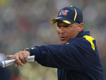 SOUTH BEND, IN - SEPTEMBER 11: Head coach Rich Rodriguez of the Michigan Wolverines yells at a player during a game against the Notre Dame Fighting Irish at Notre Dame Stadium on September 11, 2010 in South Bend, Indiana. Michigan defeated Notre Dame 28-2