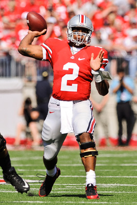 COLUMBUS, OH - OCTOBER 9:  Quarterback Terrelle Pryor #2 of the Ohio State Buckeyes passes against the Indiana Hoosiers at Ohio Stadium on October 9, 2010 in Columbus, Ohio.  (Photo by Jamie Sabau/Getty Images)