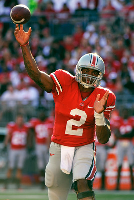 COLUMBUS, OH - SEPTEMBER 25:  Terrelle Pryor #2 of the Ohio State Buckeyes throws a pass against the Eastern Michigan Eagles at Ohio Stadium on September 25, 2010 in Columbus, Ohio.  (Photo by Jamie Sabau/Getty Images)