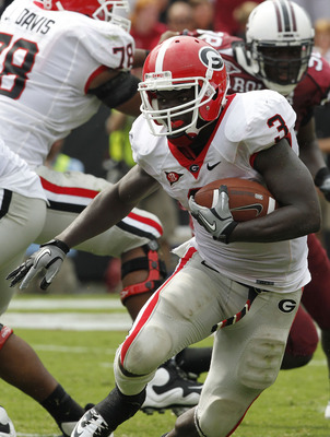 COLUMBIA, SC - SEPTEMBER 11: Tailback Washaun Ealey #3 of the Georgia Bulldogs runs with the ball during the game against the South Carolina Gamecocks at Williams-Brice Stadium on September 11, 2010 in Columbia, South Carolina. The Gamecocks beat the Bull