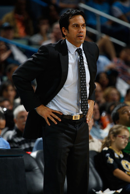 NEW ORLEANS - OCTOBER 13:  Head coach Erik Spoelstra of the Miami Heat in action during the game against the New Orleans Hornets at the New Orleans Arena on October 13, 2010 in New Orleans, Louisiana.  NOTE TO USER: User expressly acknowledges and agrees