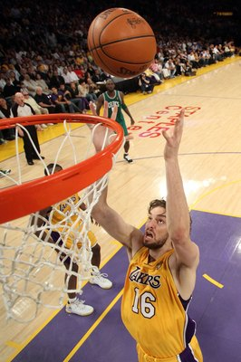 LOS ANGELES, CA - JUNE 17:  Pau Gasol #16 of the Los Angeles Lakers goes up for a rebound in front of Kevin Garnett #5 of the Boston Celtics in Game Seven of the 2010 NBA Finals at Staples Center on June 17, 2010 in Los Angeles, California.  NOTE TO USER: