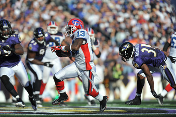BALTIMORE, MD - OCTOBER 24:  Steve Johnson #13 of the Buffalo Bills runs the ball against the Baltimore Ravens at M&T Bank Stadium on October 24, 2010 in Baltimore, Maryland. The Ravens defeated the Bills 37-34. (Photo by Larry French/Getty Images)