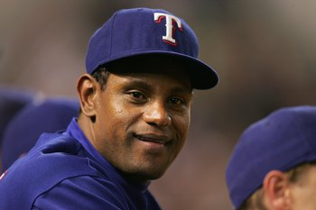 ARLINGTON, TX - AUGUST 28:  Sammy Sosa #21 of the Texas Rangers looks on against the Chicago White Sox on August 28, 2007 at Rangers Ballpark in Arlington, Texas. The Rangers won 4-3. (Photo by Ronald Martinez/Getty Images)