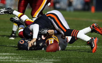 Jay Cutler had a rough day, he lost a fumble, and threw four interceptions to DeAngelo Hall.