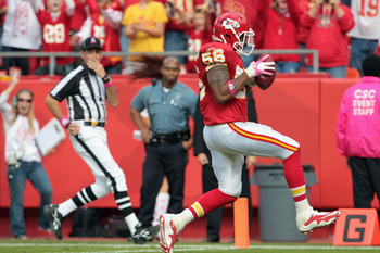 Derrick Johnson made a key interception for a touchdown that changed the momentum in the Chiefs favor.