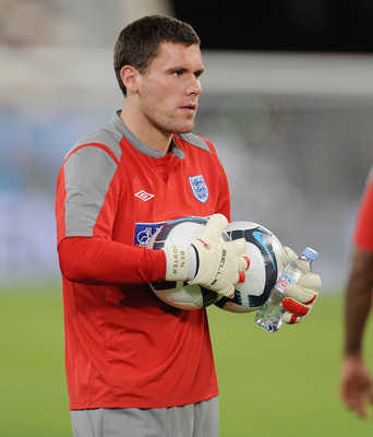 DOHA, QATAR - NOVEMBER 13: Ben Foster looks on during the England training session at the Khalifa Stadium on November 13, 2009 in Doha, Qatar.  (Photo by Michael Regan/Getty Images)