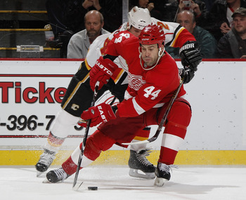 DETROIT - OCTOBER 21: Todd Bertuzzi #44 of the Detroit Red Wings tries to control the puck in front of Craig Conroy #24 of the Calgary Flames on October 21, 2010 at Joe Louis Arena in Detroit, Michigan.  (Photo by Gregory Shamus/Getty Images)