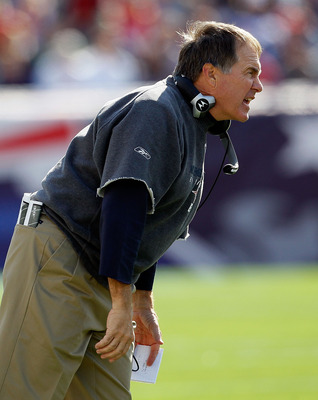 FOXBORO, MA - OCTOBER 17:  Coach Bill Belichick of the New England Patriots shouts instructions during a game against the Baltimore Ravens at Gillette Stadium on October 17, 2010 in Foxboro, Massachusetts. (Photo by Jim Rogash/Getty Images)