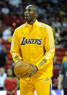 LAS VEGAS - OCTOBER 13:  Kobe Bryant #24 of the Los Angeles Lakers warms up before a preseason game against the Sacramento Kings at the Thomas & Mack Center October 13, 2010 in Las Vegas, Nevada. The Lakers won 98-95. NOTE TO USER: User expressly acknowle