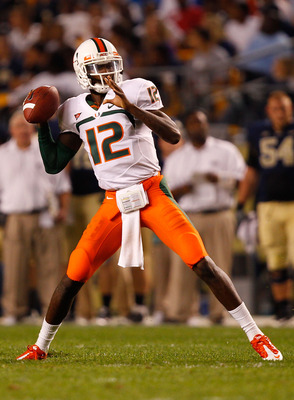 PITTSBURGH - SEPTEMBER 23:  Jacory Harris #12 of the Miami Hurricanes drops back to pass against the Pittsburgh Panthers on September 23, 2010 at Heinz Field in Pittsburgh, Pennsylvania.  (Photo by Jared Wickerham/Getty Images)