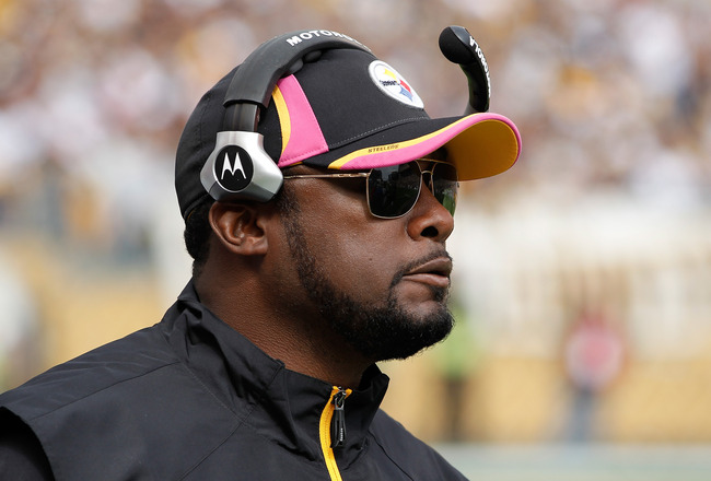 PITTSBURGH - OCTOBER 03: Head Coach Mike Tomlin of the Pittsburgh Steelers looks on during the game against the Baltimore Ravens on October 3, 2010 at Heinz Field in Pittsburgh, Pennsylvania. (Photo by Gregory Shamus/Getty Images)
