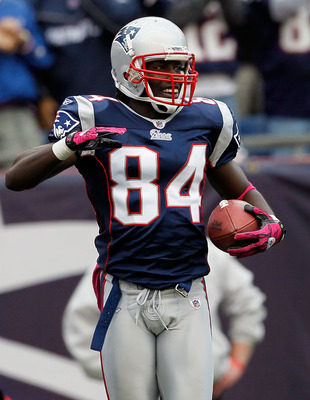 FOXBORO, MA - OCTOBER 17:  Deion Branch #84 of the New England Patriots after he caught a touchdown pass in the second half against the Baltimore Ravens at Gillette Stadium on October 17, 2010 in Foxboro, Massachusetts. The Patriot won 23-20 in overtime.
