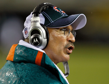 JACKSONVILLE, FL - AUGUST 21:  Head coach Tony Sparano of the Miami Dolphins watches the action during a preseason game against the Jacksonville Jaguars at EverBank Field on August 21, 2010 in Jacksonville, Florida.  (Photo by Sam Greenwood/Getty Images)