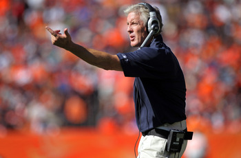 DENVER - SEPTEMBER 19:  Head coach Pete Carroll of the Seattle Seahawks directs his team against the Denver Broncos at INVESCO Field at Mile High on September 19, 2010 in Denver, Colorado. The Broncos defeated the Seahawks 31-14.  (Photo by Doug Pensinger