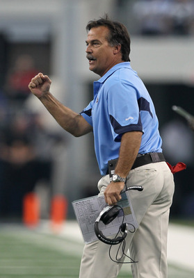 ARLINGTON, TX - OCTOBER 10:  Head coach Jeff Fisher of the Tennessee Titans celebrates the Titans second touchdown of the game with the Dallas Cowboys at Cowboys Stadium on October 10, 2010 in Arlington, Texas. The Titans won 34-27.  (Photo by Stephen Dun