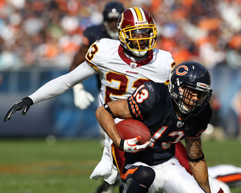CHICAGO - OCTOBER 24: Johnny Knox #13 of the Chicago Bears is pursued by DeAngelo Hall #23 of the Washington Redskins at Soldier Field on October 24, 2010 in Chicago, Illinois. The Redskins defeated the Bears 17-14. (Photo by Jonathan Daniel/Getty Images)