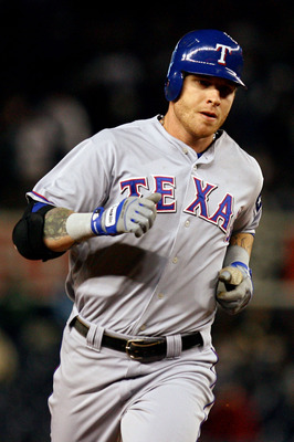 NEW YORK - OCTOBER 19:  Josh Hamilton #32 of the Texas Rangers round the bases after hitting a solo homerun in the ninth inning against the New York Yankees in Game Four of the ALCS during the 2010 MLB Playoffs at Yankee Stadium on October 19, 2010 in the