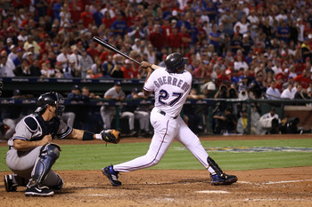 ARLINGTON, TX - OCTOBER 22:  Vladimir Guerrero #27 of the Texas Rangers bats against the New York Yankees in Game Six of the ALCS during the 2010 MLB Playoffs at Rangers Ballpark in Arlington on October 22, 2010 in Arlington, Texas. The Rangers won 6-1. (