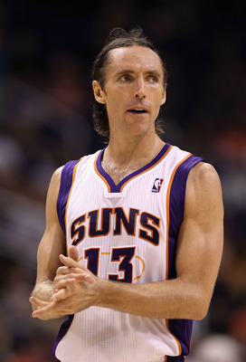 PHOENIX - OCTOBER 19:  Steve Nash #13 of the Phoenix Suns during the preseason NBA game against the Golden State Warriors at US Airways Center on October 19, 2010 in Phoenix, Arizona. NOTE TO USER: User expressly acknowledges and agrees that, by downloadi