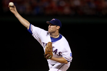 ARLINGTON, TX - OCTOBER 22:  Starting pitcher Colby Lewis #48 of the Texas Rangers pitches against the New York Yankees in Game Six of the ALCS during the 2010 MLB Playoffs at Rangers Ballpark in Arlington on October 22, 2010 in Arlington, Texas. The Rang