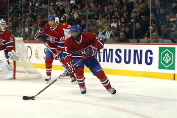 MONTREAL, CANADA - SEPTEMBER 27:  P.K. Subban #76 of the Montreal Canadiens skates against the Montreal Canadiens at the Bell Centre on September 27, 2010 in Montreal, Canada. (Photo by Bruce Bennett/Getty Images)