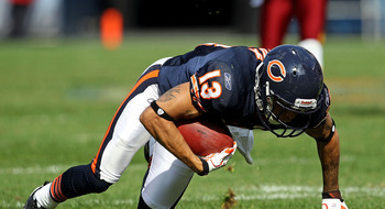 CHICAGO - OCTOBER 24: Johnny Knox #13 of the Chicago Bears tries to keep his balance after a catch against the Washington Redskins at Soldier Field on October 24, 2010 in Chicago, Illinois. The Redskins defeated the Bears 17-14. (Photo by Jonathan Daniel/
