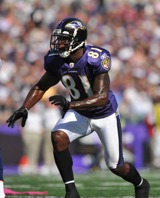 BALTIMORE, MD - OCTOBER 10: Anquan Boldin #81 of the Baltimore Ravens prepares to run downfield against the Denver Broncos at M&T Bank Stadium on October 10, 2010 in Baltimore, Maryland. Players wore pink in recognition of Breast Cancer Awareness Month. T