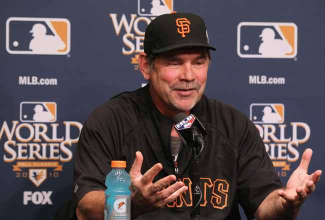 SAN FRANCISCO - OCTOBER 26:  San Francisco Giants manager Bruce Bochy speaks to reporters at AT&T Park on October 26, 2010 in San Francisco, California.  The San Francisco Giants will face the Texas Rangers in the first game of the World Series on Wednesd