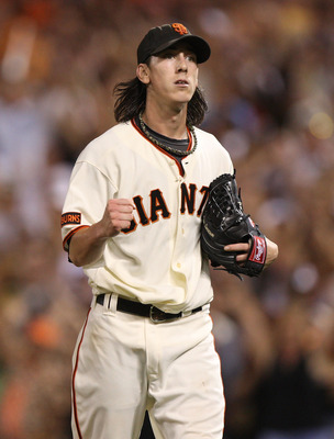 SAN FRANCISCO - AUGUST 28:  Tim Lincecum #55 of the San Francisco Giants celebrates in the 8th inning against the Colorado Rockies during a Major League Baseball game at AT&T Park on August 28, 2009 in San Francisco, California.  (Photo by Jed Jacobsohn/G