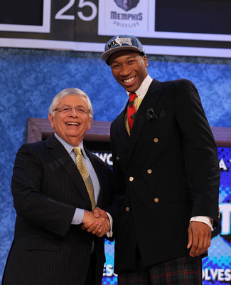 NEW YORK - JUNE 24:  Wesley Johnson stands with NBA Commisioner David Stern after being drafted by The Minnesota Timberwolves at Madison Square Garden on June 24, 2010 in New York City.  NOTE TO USER: User expressly acknowledges and agrees that, by downlo