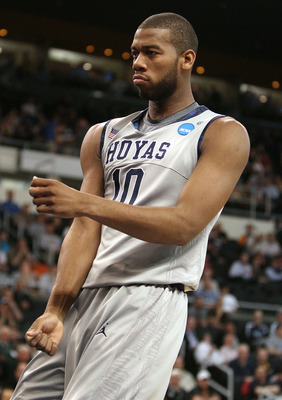 PROVIDENCE, RI - MARCH 18:  Greg Monroe #10 of the Georgetown Hoyas celebrates his basket in the first half against the Ohio Bobcats during the first round of the 2010 NCAA men's basketball tournament on March 18, 2010 at the Dunkin Donuts Arena in Provid