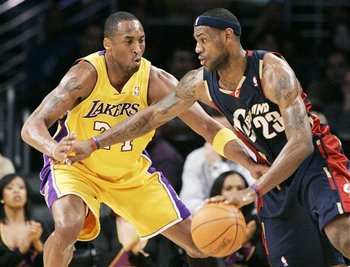 Kobe Bryant defending Lebron James