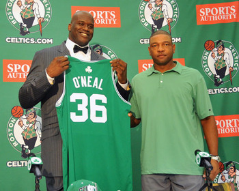 Shaq after signing with the Boston Celtics