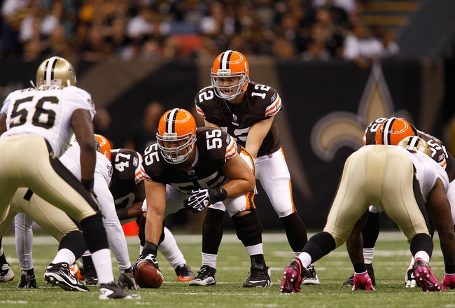 NEW ORLEANS - OCTOBER 24:  Colt McCoy #12 of the Cleveland Browns in action against the New Orleans Saints at the Louisiana Superdome on October 24, 2010 in New Orleans, Louisiana.  (Photo by Chris Graythen/Getty Images)