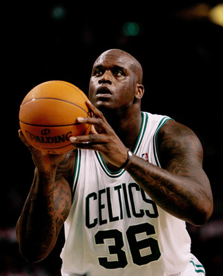 BOSTON, MA - OCTOBER 26: Shaquille O'Neal #36 of the Boston Celtics prepares to shoot a free-throw shot against the Miami Heat to the basket at the TD Banknorth Garden on October 26, 2010 in Boston, Massachusetts. NOTE TO USER: User expressly acknowledges