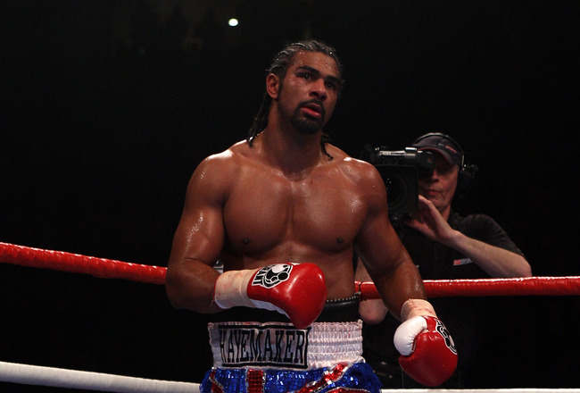 MANCHESTER, ENGLAND - APRIL 03:  David Haye of England waits in a neutral corner after flooring John Ruiz of USA during the World Heavyweight Bout at the MEN Arena on April 3, 2010 in Manchester, England.  (Photo by Michael Steele/Getty Images)