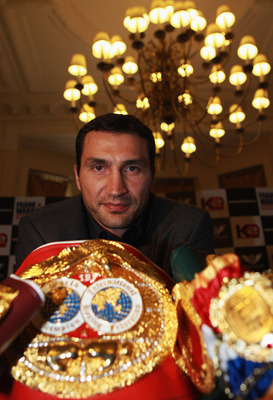 LONDON, ENGLAND - OCTOBER 21:  Wladimir Klitschko of Ukraine attends a press conference along with Dereck Chisora of Great-Britain, ahead of the IBF, WBO and WBC World Heavyweight fight between Wladimir Klitschko and Dereck Chisora scheduled for December