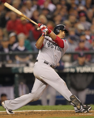 SEATTLE - SEPTEMBER 13:  Victor Martinez #41 of the Boston Red Sox bats against the Seattle Mariners at Safeco Field on September 13, 2010 in Seattle, Washington. (Photo by Otto Greule Jr/Getty Images)