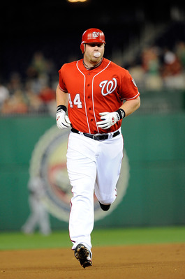 WASHINGTON - SEPTEMBER 24:  Adam Dunn #44 of the Washington Nationals rounds the bases after hitting a home run in the second inning against the Atlanta Braves at Nationals Park on September 24, 2010 in Washington, DC.  (Photo by Greg Fiume/Getty Images)