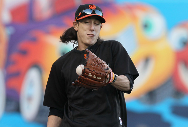 SAN FRANCISCO - OCTOBER 25:  Tim Lincecum #55 of the San Francisco Giants plays catch during a team workout at AT&T Park on October 25, 2010 in San Francisco, California. The Giants are preparing to face the Texas Rangers in the 2010 World Series.  (Photo