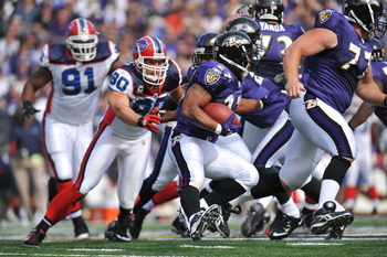 BALTIMORE, MD - OCTOBER 24:  Ray Rice #27 of the Baltimore Ravens runs the ball against the Buffalo Bills at M&T Bank Stadium on October 24, 2010 in Baltimore, Maryland. The Ravens defeated the Bills 37-34. (Photo by Larry French/Getty Images)
