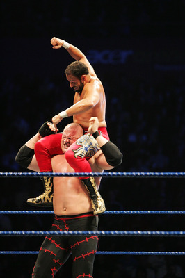 SYDNEY, AUSTRALIA - JUNE 15:  Chavo Guerrero beats on ECW Champion Kane during WWE Smackdown at Acer Arena on June 15, 2008 in Sydney, Australia.  (Photo by Gaye Gerard/Getty Images)