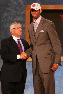 NEW YORK - JUNE 28:  NBA Commissioner David Stern poses for a photo with Brandan Wright of North Carolina after he was drafted eight by the Chicago Bulls during the 2007 NBA Draft on June 28, 2007 at the WaMu Theatre at Madison Square Garden in New York C