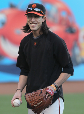 SAN FRANCISCO - OCTOBER 25:  Tim Lincecum #55 of the San Francisco Giants laughs during a team workout at AT&T Park on October 25, 2010 in San Francisco, California. The Giants are preparing to face the Texas Rangers in the 2010 World Series.  (Photo by J