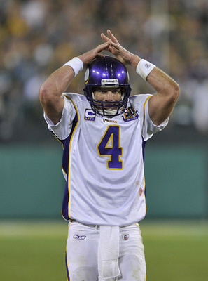 GREEN BAY, WI - OCTOBER 24:  Brett Favre #4 of the Minnesota Vikings reacts after throwing a final incomplete pass against the Green Bay Packers at Lambeau Field on October 24, 2010 in Green Bay, Wisconsin.  The Packers defeated the Vikings 28-24. (Photo